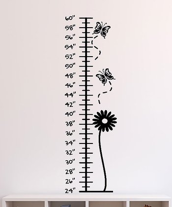 Black Bloom & Butterflies Growth Chart Wall Decal