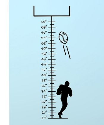 Black Ready, Set, Football Growth Chart Wall Decal