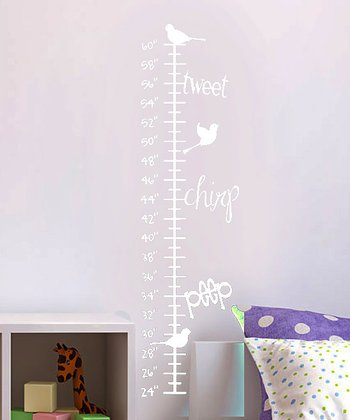 White Singing Trio Growth Chart Wall Decal