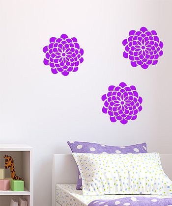 Lavender Pop Flower Wall Decal Set