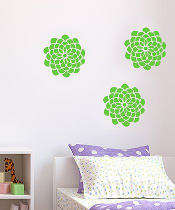 Lime Pop Flower Wall Decal Set