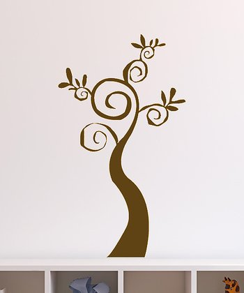 Brown Swirl Tree Decal