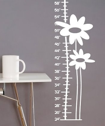 White Growing Flower Growth Chart Wall Decal