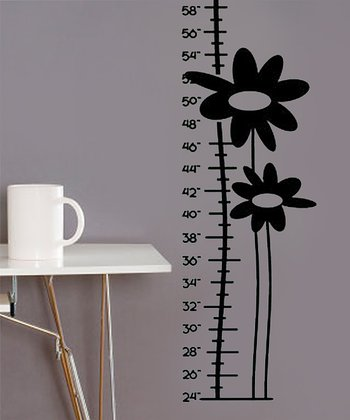Black Growing Flower Growth Chart Wall Decal