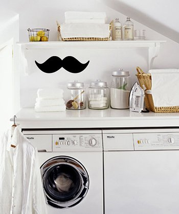 Black Stash the Mustache Wall Decal