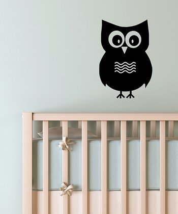 Black Mr. Owl Wall Decal