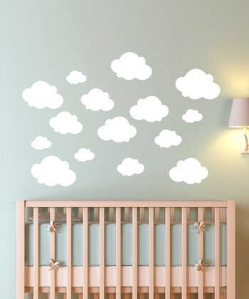 White Cloudy Sky Large Wall Decal Set