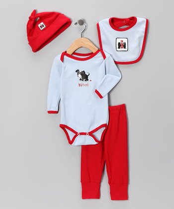 Light Blue & Red 'Woof' Dog Layette Set - Infant
