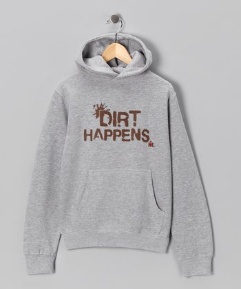 Heather Gray 'Dirt Happens' Hoodie - Kids