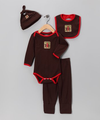 Brown & Red 'IH' Camo Layette Set - Infant