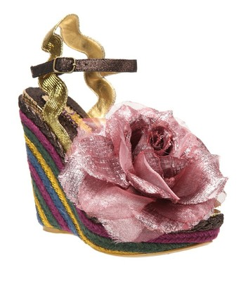 Gold & Pink Weaver Leather Wedge Sandal