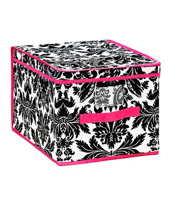 Black & Pink Damask Large Storage Box