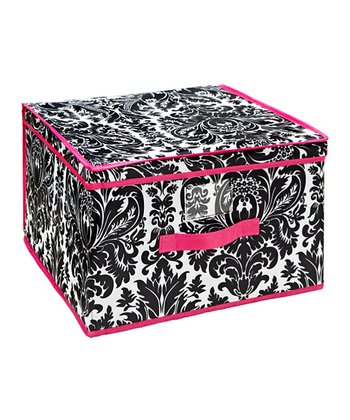 Black & Pink Damask Jumbo Storage Box