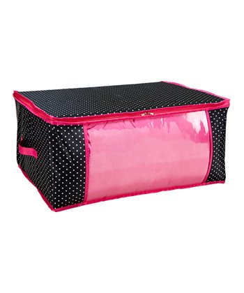 Black & Pink Polka Dot Underbed Storage Bag