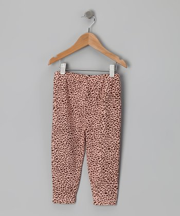 New York-Designed Pink Leopard Knit Leggings