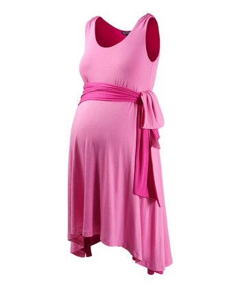 Fuchsia & Blossom Tie-Waist Maternity Dress