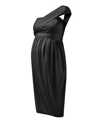 Caviar Black Convertible Maternity Cocktail Dress