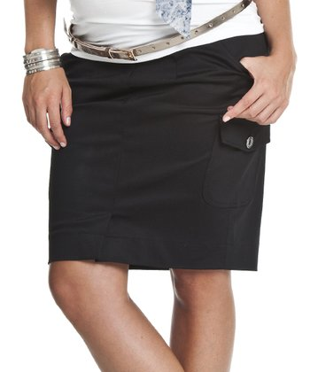 Caviar Black Under-Belly Maternity Cargo Skirt