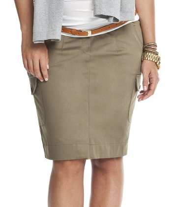 Khaki Under-Belly Maternity Cargo Skirt