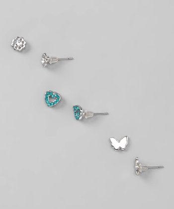 Silver & Teal Alana Earrings Set