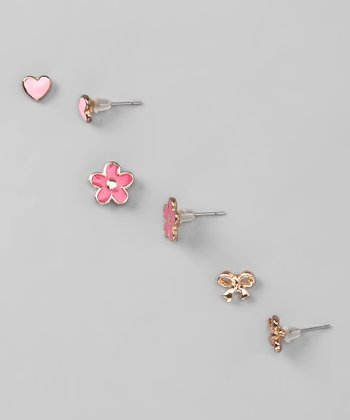 Pink & Gold Leann Earrings Set