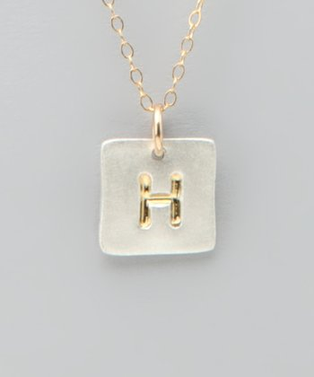 Gold Square Initial Charm Necklace