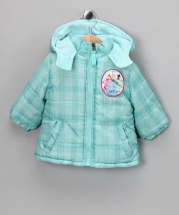 Turquoise Plaid Princess Puffer Coat - Infant & Toddler