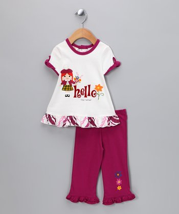 Pomegranate 'Hello' Tunic & Leggings - Infant