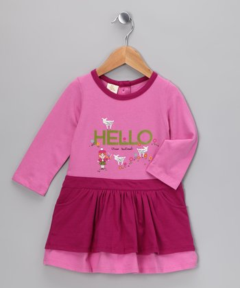 Fuchsia 'Hello' Dress - Infant & Toddler