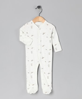 White & Gray Ocean Organic Footie - Infant