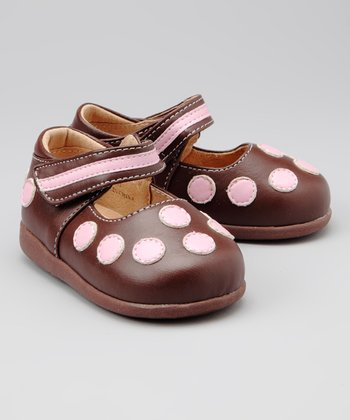 Brown & Light Pink Dottie Squeaker Mary Jane