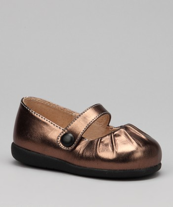 Brown Metallic Pleated Squeaker Mary Jane
