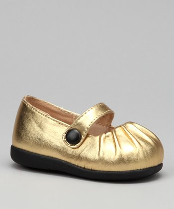 Gold Pleated Squeaker Mary Jane