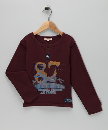 Burgundy '87' Henley - Infant, Toddler & Boys
