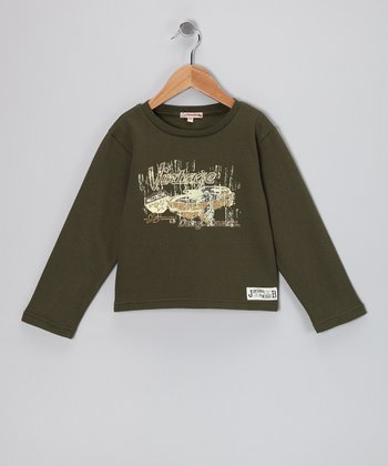 Olive Vintage Car Fleece Tee - Infant, Toddler & Boys