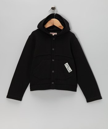 Black Fleece Button-Up Hoodie - Infant