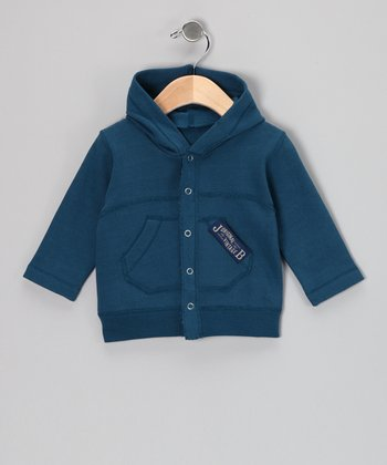 Blue Fleece Button-Up Hoodie - Toddler & Boys