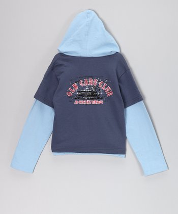 Dark Blue 'Old Cars Club' Layered Hoodie - Infant, Toddler & Boys