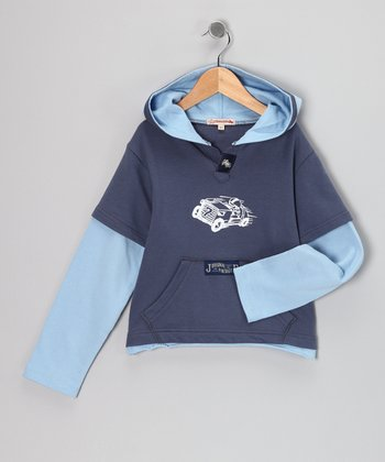Dark Blue Taxi Layered Hoodie - Infant & Boys
