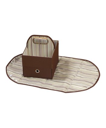 JJ Cole Chocolate Stripe Diaper Caddy