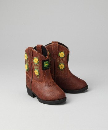 Toddler Brown Floral Wellington Cowboy Boot