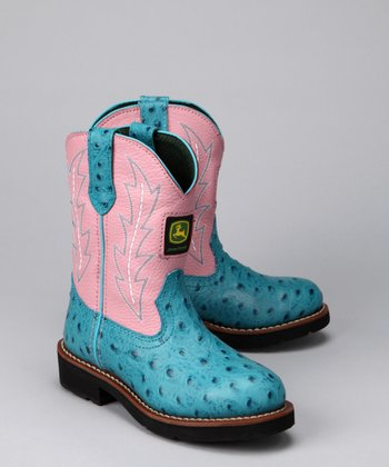 Blue & Pink Ostrich Wellington Cowboy Boot