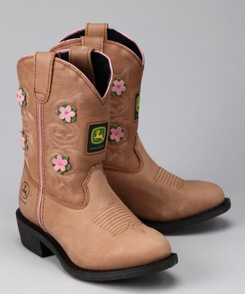 Tan & Pink Floral Wellington Cowboy Boot - Girls