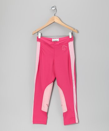 Hot Pink Schooling Leggings - Girls