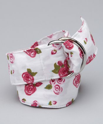 White & Pink Floral Belt - Girls
