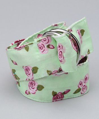 Green & Pink Floral Belt - Girls