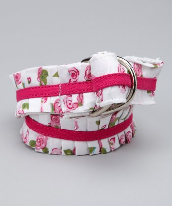 White Floral Ruffle Belt - Girls
