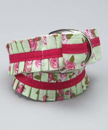 Green Floral Ruffle Belt