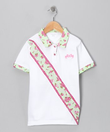 White & Mint Floral Polo - Girls