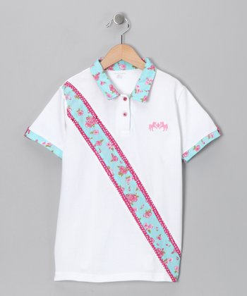 White & Blue Floral Polo - Girls